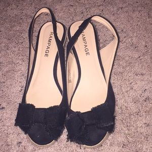 Women's cute Black cloth wedges with Bow size 8